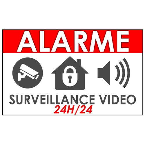 "Lot de 10 stickers ""Alarme video surveillance maison"""