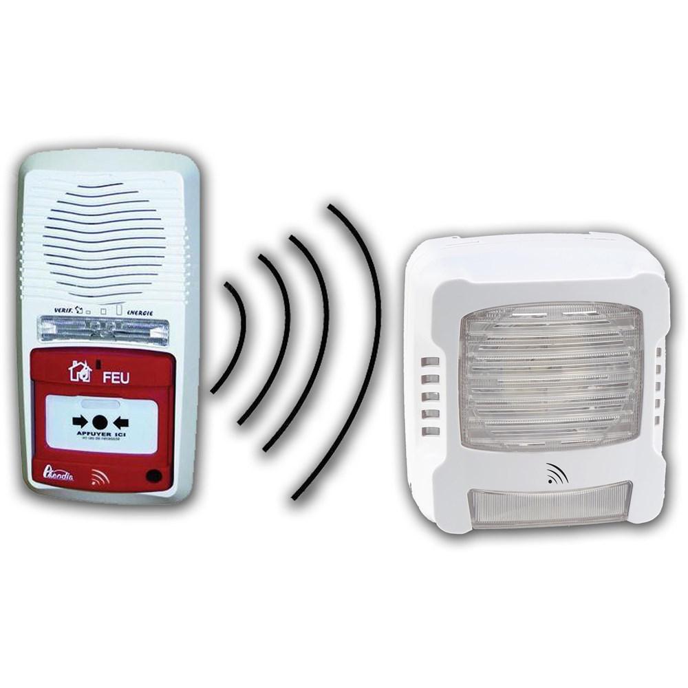 pack alarme radio type 4 avec 1 diffuseur lumineux incendie radio. Black Bedroom Furniture Sets. Home Design Ideas