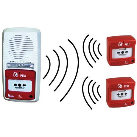 Pack alarme radio type 4 avec 2 déclencheurs manuels radio