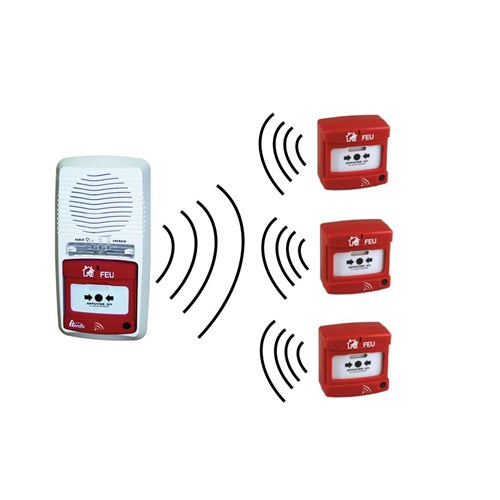 Pack alarme radio type 4 avec 3 déclencheurs manuels radio