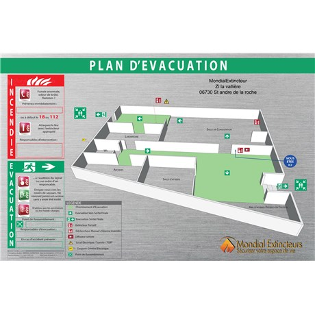 plan d 39 vacuation 3d sur dibond alu brosse format a1. Black Bedroom Furniture Sets. Home Design Ideas