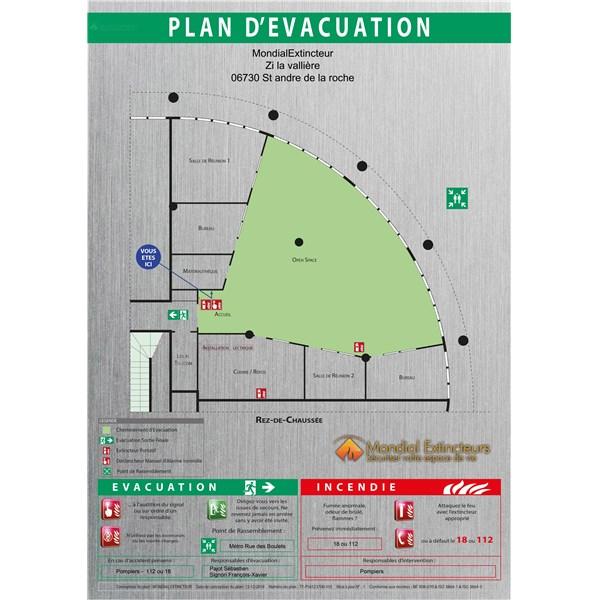 plan d 39 vacuation sur dibond alu brosse format a1. Black Bedroom Furniture Sets. Home Design Ideas