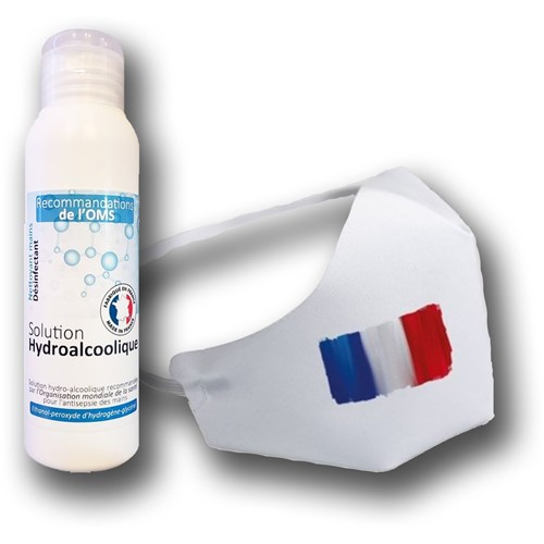 Protection individuelle Solution hydroalcoolique et masque
